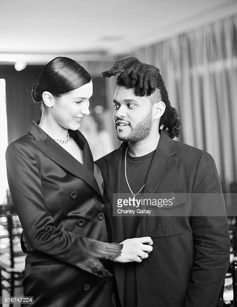 Image was shot in black and white Color version is available Model Bella Hadid and singer The Weeknd attend The Daily Front Row 'Fashion Los Angeles...