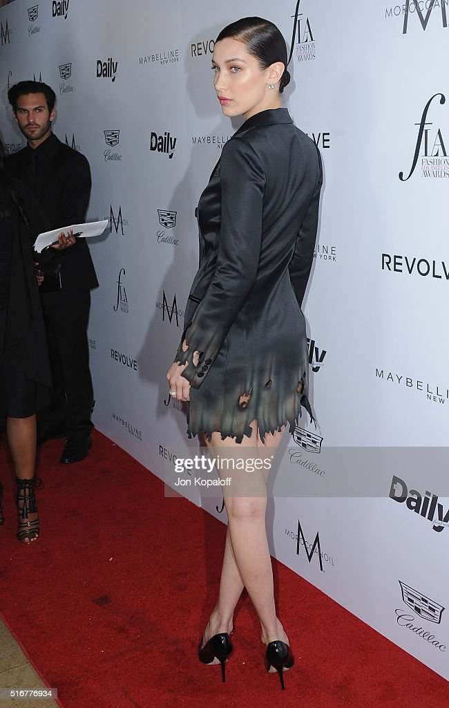 Model Bella Hadid arrives at The Daily Front Row 'Fashion Los Angeles Awards' 2016 at Sunset Tower Hotel on March 20, 2016 in West Hollywood, California.