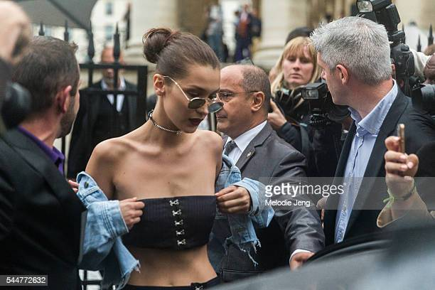 Model Bella Hadid at the Atelier Versace Couture show at Palais Brongniart on July 3 2016 in Paris France