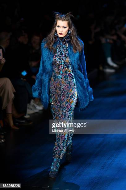 Model Bella Hadid attends the Anna Sui fashion show during February 2017 New York Fashion Week The Shows at Gallery 1 Skylight Clarkson Sq on...