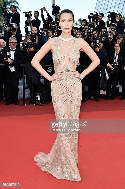 Model Bella Hadid attends the 'Cafe Society' premiere and the Opening Night Gala during the 69th annual Cannes Film Festival at the Palais des...