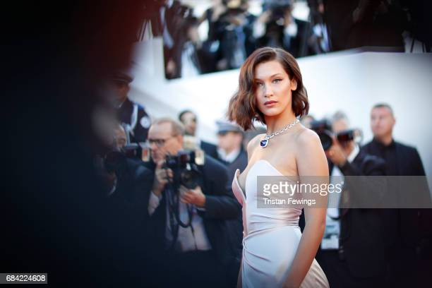 Model Bella Hadid attends the 'Ismael's Ghosts ' screening and Opening Gala during the 70th annual Cannes Film Festival at Palais des Festivals on...