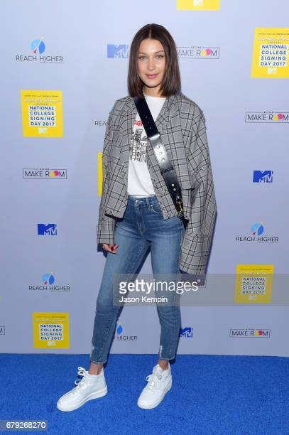 Model Bella Hadid attends the MTV's 2017 College Signing Day With Michelle Obama at The Public Theater on May 5 2017 in New York City