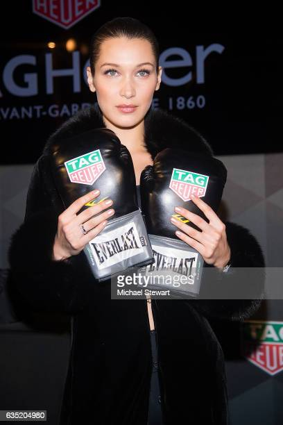Model Bella Hadid attends the new face of Tag Heuer announcement at Equinox on February 13 2017 in New York City