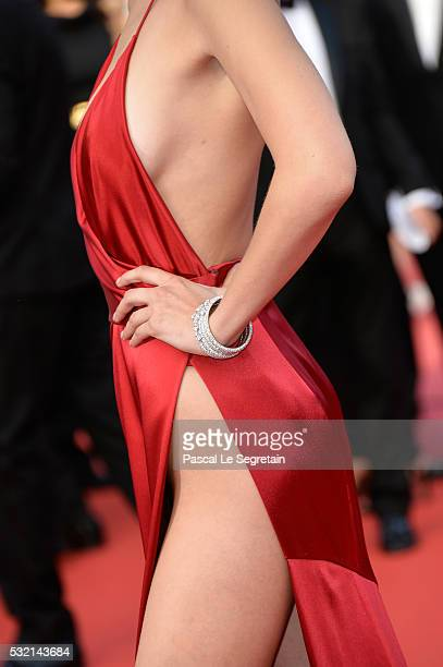 Model Bella Hadid detail attends 'The Unknown Girl ' Premiere duirng the annual 69th Cannes Film Festival at Palais des Festivals on May 18 2016 in...