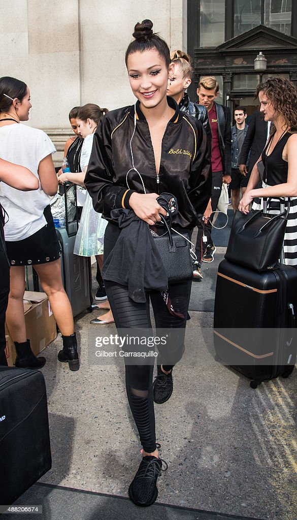 Model Bella Hadid is seen arriving at Jeremy Scott fashion show during Spring 2016 New York Fashion Week on September 14, 2015 in New York City.