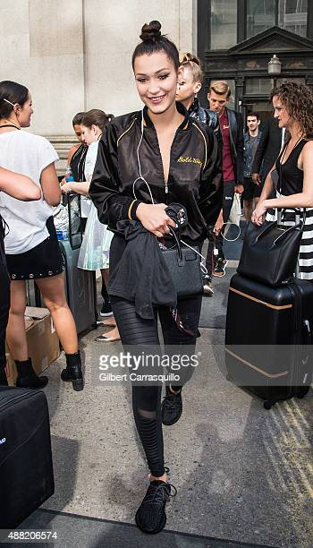Model Bella Hadid is seen arriving at Jeremy Scott fashion show during Spring 2016 New York Fashion Week on September 14 2015 in New York City
