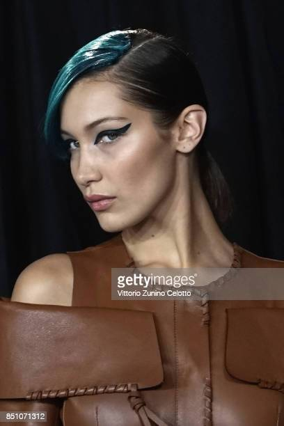 Model Bella Hadid is seen backstage ahead of the Fendi show during Milan Fashion Week Spring/Summer 2018on September 21 2017 in Milan Italy