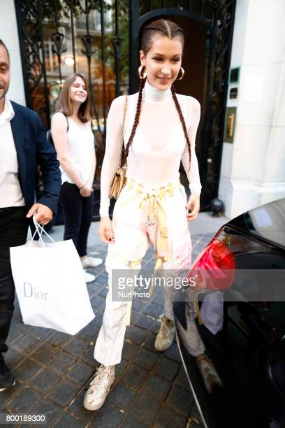 US model Bella Hadid is seen in Paris France on 23 June 2017 during during the Paris Fashion Week Menswear Spring/Summer 2018