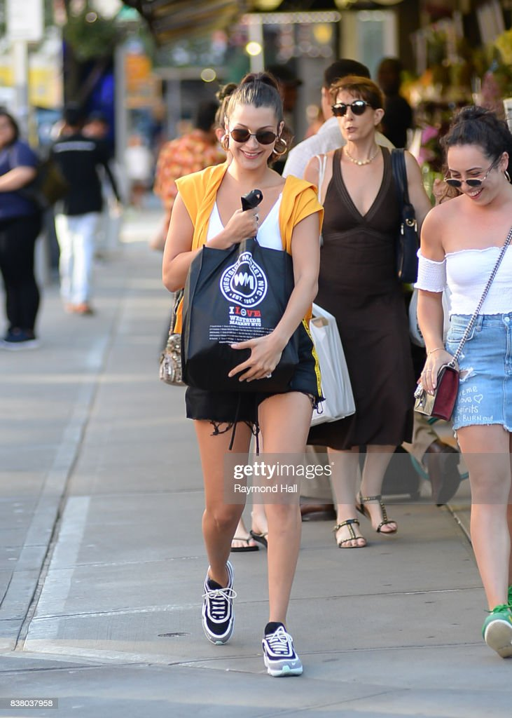 Model Bella Hadid is seen walking in Soho on August 23, 2017 in New York City.