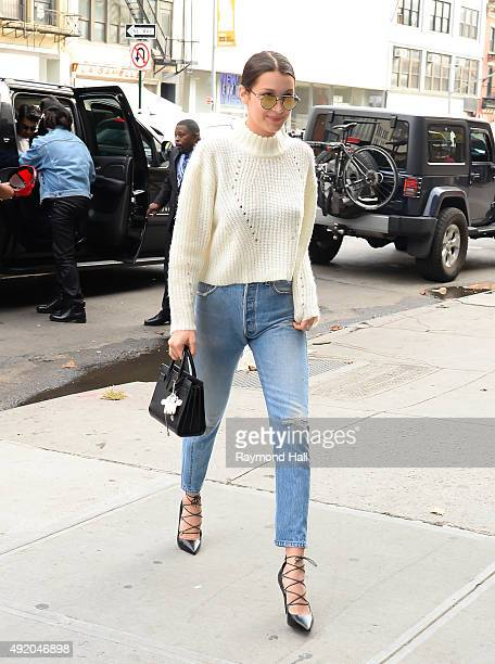 Model Bella Hadid is seen walking in Soho on her Birthday on October 9 2015 in New York City
