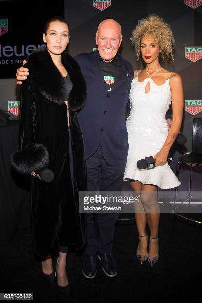 Model Bella Hadid JeanClaude Biver and Leona Lewis attend the new face of Tag Heuer announcement at Equinox on February 13 2017 in New York City