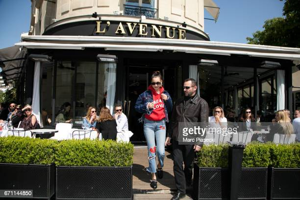 Model Bella Hadid leaves the 'l'Avenue' restaurant on April 21 2017 in Paris France