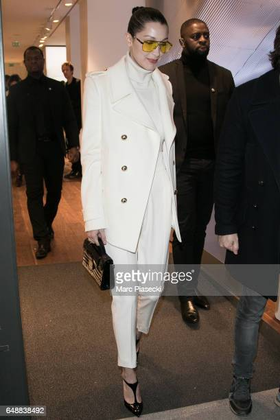 Model Bella Hadid leaves the 'RIMOWA' boutique in Rue du Faubourg Saint Honore on March 6 2017 in Paris France