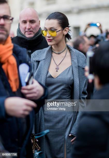 Model Bella Hadid outside Chanel on March 7 2017 in Paris France