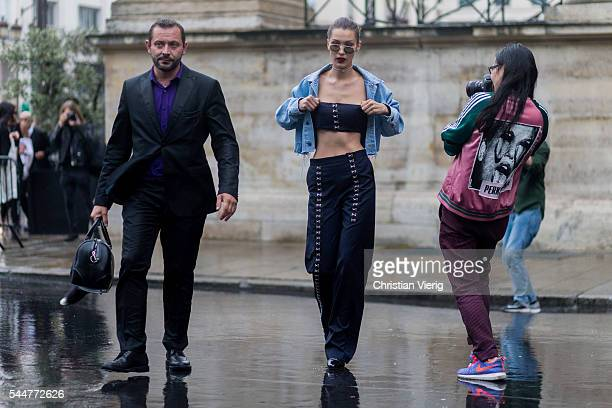 Model Bella Hadid outside Versace during Paris Fashion Week Haute Couture F/W 2016/2017 on July 3 2016 in Paris France
