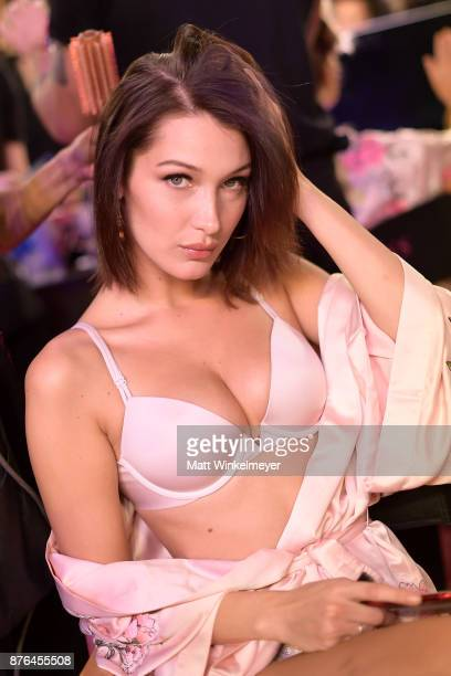 Model Bella Hadid poses in Hair Makeup during 2017 Victoria's Secret Fashion Show In Shanghai at MercedesBenz Arena on November 20 2017 in Shanghai...