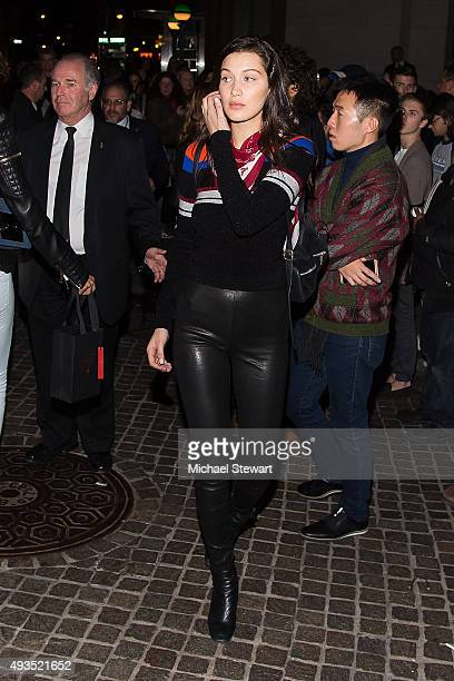 Model Bella Hadid seen outside of the BALMAIN X HM Collection launch event at 23 Wall Street on October 20 2015 in New York City