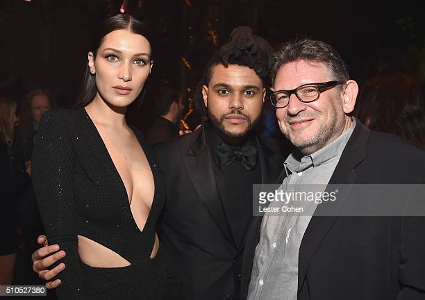 Model Bella Hadid singer The Weeknd and CBE Chairman and CEO Lucian Grainge attend Universal Music Group 2016 Grammy After Party presented by...