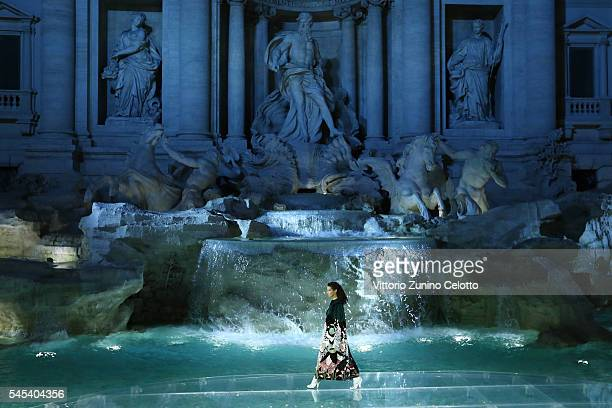 Model Bella Hadid walks the runway at Fendi Roma 90 Years Anniversary fashion show at Fontana di Trevi on July 7 2016 in Rome Italy