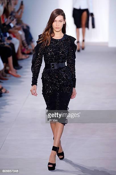 Model Bella Hadid walks the runway at the Michael Kors Spring 2017 Runway Show duing NEw York Fasion Week at Spring Studios on September 14 2016 in...