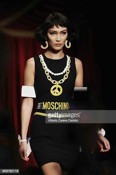 Model Bella Hadid walks the runway at the Moschino show during Milan Fashion Week Spring/Summer 2017 on September 22 2016 in Milan Italy