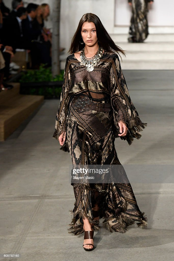 Model Bella Hadid walks the runway at the Ralph Lauren fashion show during New York Fashion