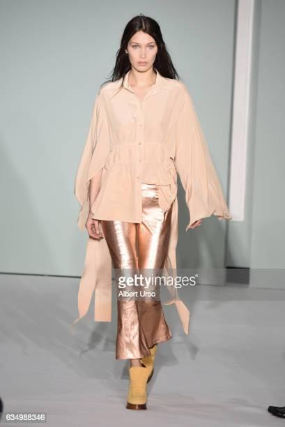Model Bella Hadid walks the runway at the Sies Marjan fashion show during New York Fashion Week on February 12 2017 in New York City