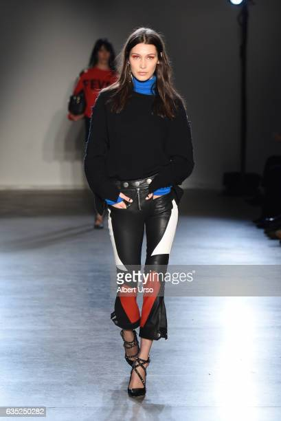 Model Bella Hadid walks the runway at the Zagdig Voltaire fashion show during New York Fashion Week at Skylight Modern on February 13 2017 in New...