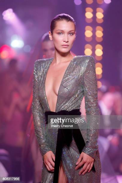 US model Bella Hadid walks the runway during the Alexander Vauthier Haute Couture Fall/Winter 20172018 show as part of Haute Couture Paris Fashion...