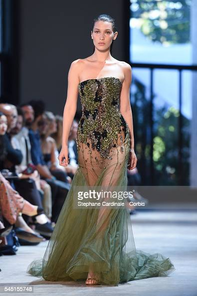 Model Bella Hadid walks the runway during the Alexandre Vauthier Prive Haute Couture Fall/Winter 20162017 show as part of Paris Fashion Week on July...