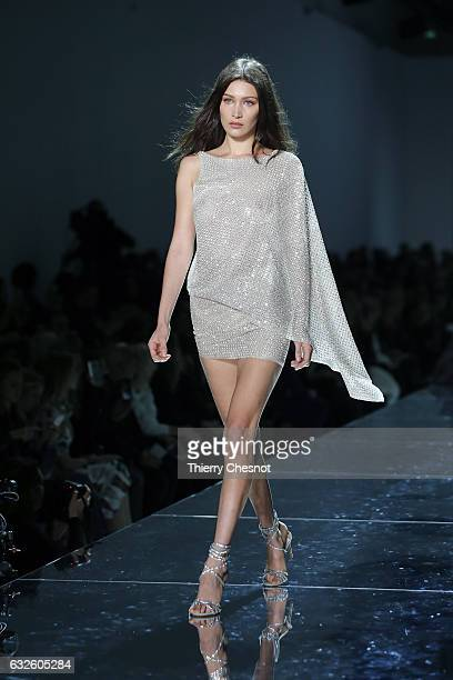 US model Bella Hadid walks the runway during the Alexandre Vauthier Spring Summer 2017 show as part of Paris Fashion Week on January 24 2017 in Paris...