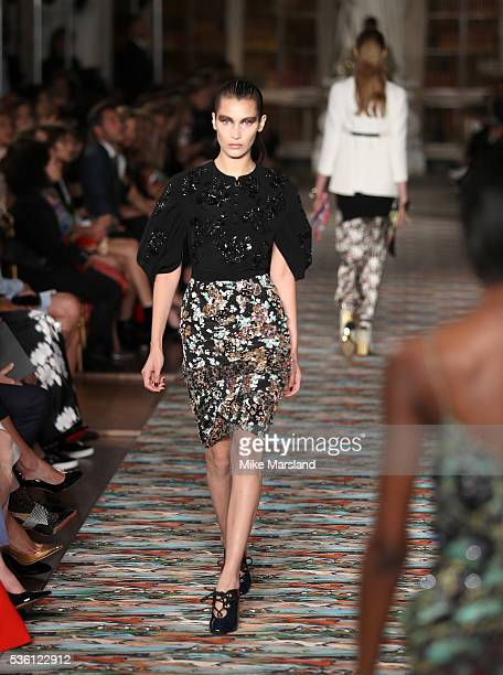 Model Bella Hadid walks the runway during the Christian Dior Spring Summer 2017 Cruise Collection at Blenheim Palace on May 31 2016 in Woodstock...
