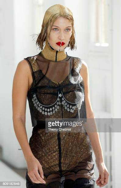 Model Bella Hadid walks the runway during the Maison Margiela Haute Couture Fall/Winter 20172018 show as part of Haute Couture Paris Fashion Week on...
