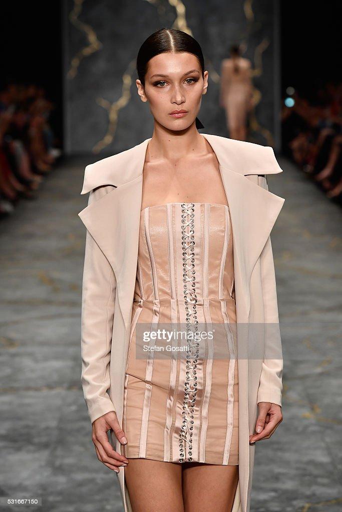 Model bella hadid walks the runway during the misha collection show at