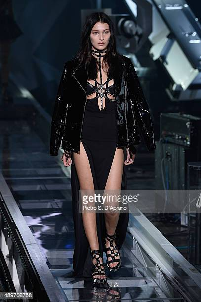 Model Bella Hadid walks the runway during the Philipp Plein fashion show as part of Milan Fashion Week Spring/Summer 2016 on September 23 2015 in...