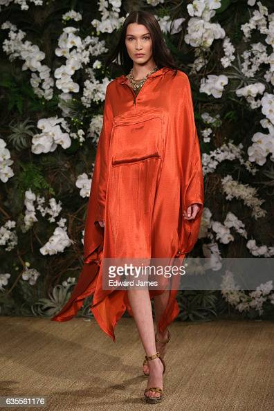 Model Bella Hadid walks the runway during the Ralph Lauren fashion show on February 15 2017 in New York City