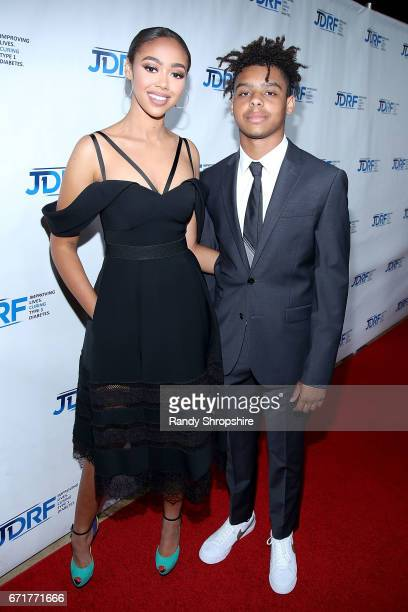 Model Bella Harris and honoree Max Harris attend JDRF LA's IMAGINE Gala to benefit type 1 diabetes research at The Beverly Hilton on April 22 2017 in...
