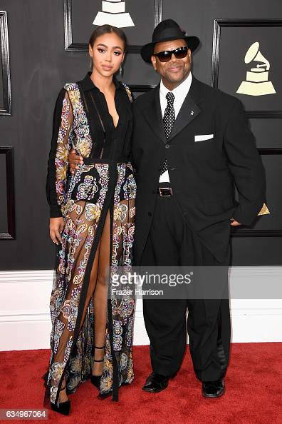 Model Bella Harris and producer Jimmy Jam attend The 59th GRAMMY Awards at STAPLES Center on February 12 2017 in Los Angeles California