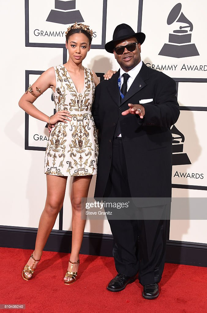 Model Bella Harris and record producer Jimmy Jam attend The 58th GRAMMY Awards at Staples Center on February 15 2016 in Los Angeles California