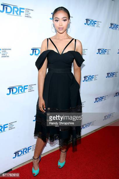 Model Bella Harris attends JDRF LA's IMAGINE Gala to benefit type 1 diabetes research at The Beverly Hilton on April 22 2017 in Beverly Hills...