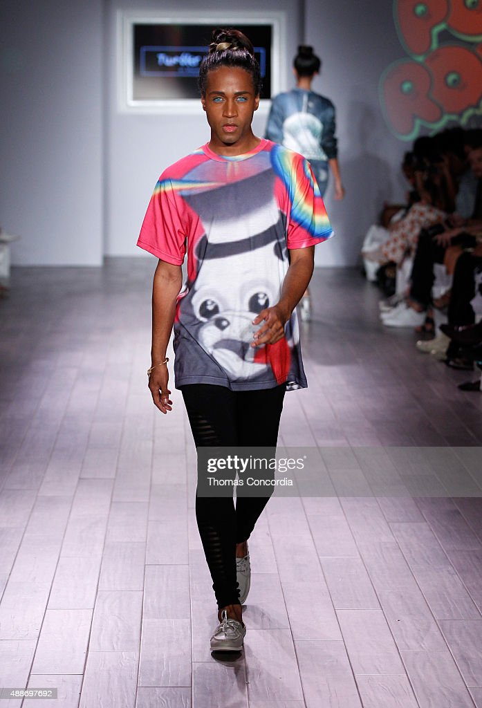 Model Bello Sanchez walks the runway during KIA STYLE360 hosts Tumbler and Tipsy by Michael Kuluva on September 16 2015 in New York City