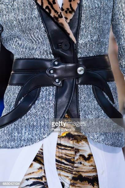 A model belt detail showcases the design on runway during the Louis Vuitton Resort 2018 show at the Miho Museum on May 14 2017 in Koka Japan