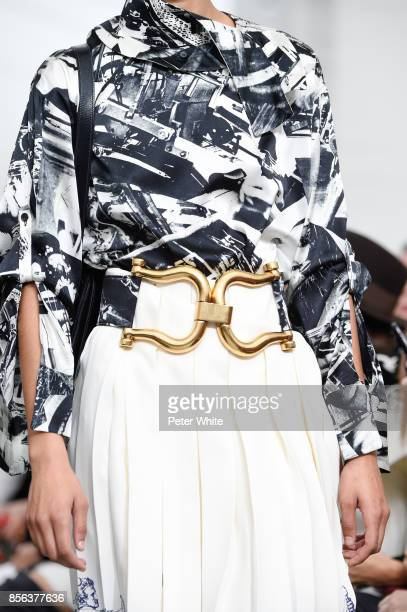 A model belt detail walks the runway during the Celine show as part of the Paris Fashion Week Womenswear Spring/Summer 2018 on October 1 2017 in...