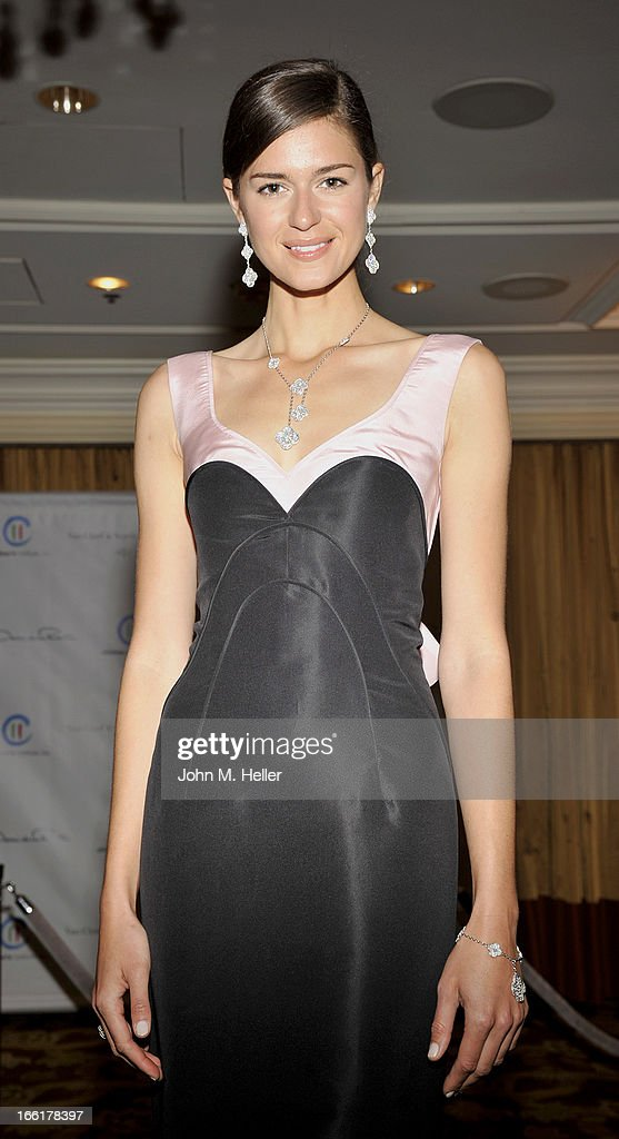 Model Beth Ostendorf seen wearing an Oscar de la Renta evening gown at the 25th annual Colleagues Luncheon at the Beverly Wilshire Hotel on April 9, 2013 in Beverly Hills, California.