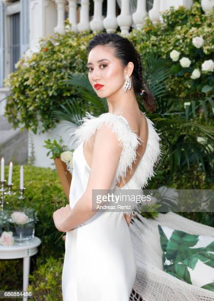 Model Betty Bachz attends the Artists for Peace and Justice cocktail event celebrating the 70th Annual Cannes Film Festival presented on the Lemon...