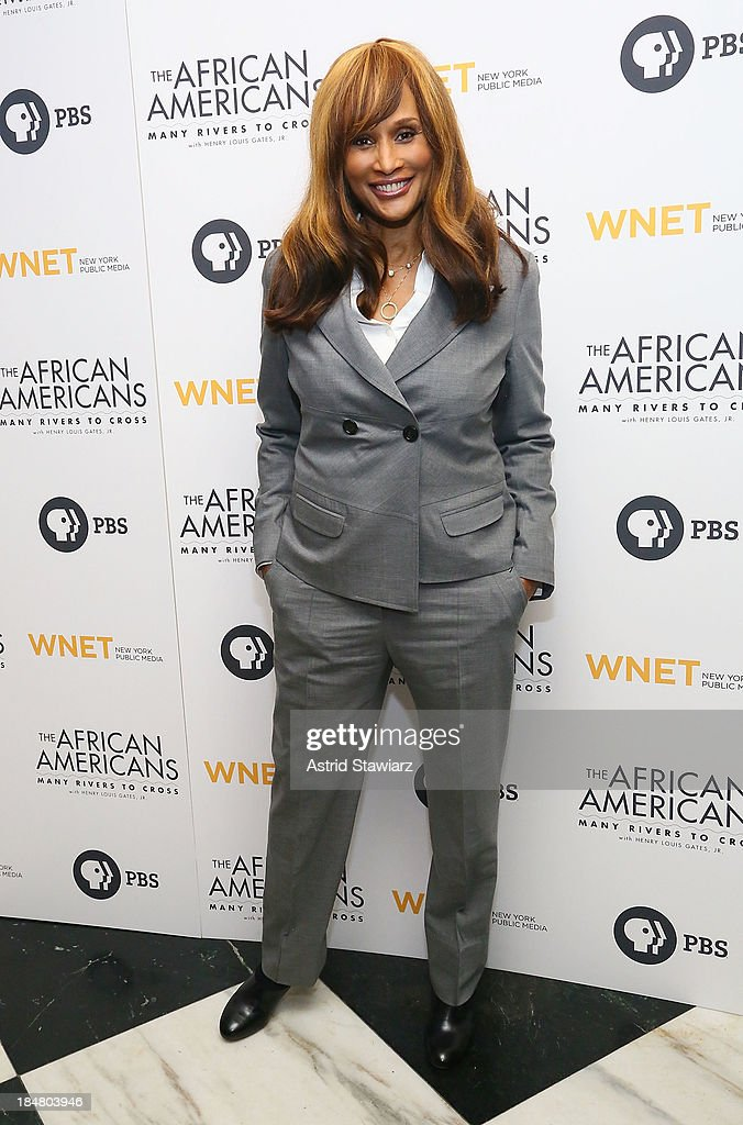 Model <a gi-track='captionPersonalityLinkClicked' href=/galleries/search?phrase=Beverly+Johnson&family=editorial&specificpeople=206659 ng-click='$event.stopPropagation()'>Beverly Johnson</a> attends 'The African Americans: Many Rivers to Cross' New York Series Premiere at the Paris Theater on October 16, 2013 in New York City.
