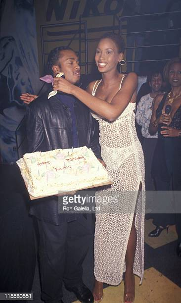 Model Beverly Peele and husband Jeffrey Alexander attend the birthday party for Beverly Peele on April 3 1993 at Club USA in New York City