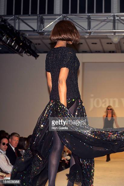 Model Beverly Peele attends Fashion Week Fashions by Joan Vass on April 4 1995 at Bryant Park in New York City