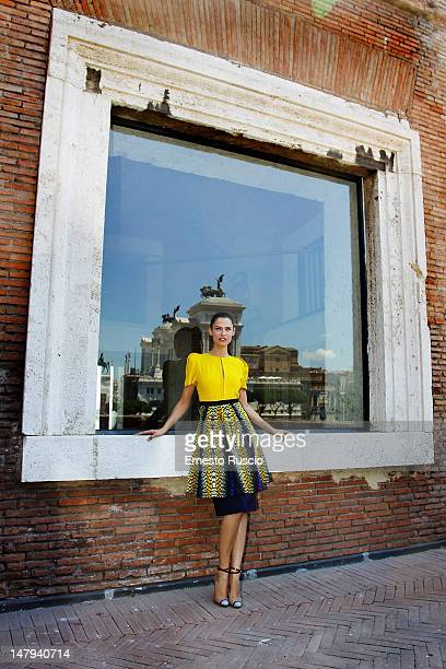 Model Bianca Balti attends a preview of the 'Bianca Balti Scenes From A Fashion Fairy Tale' exhibition at Mercati Di Traiano on July 6 2012 in Rome...